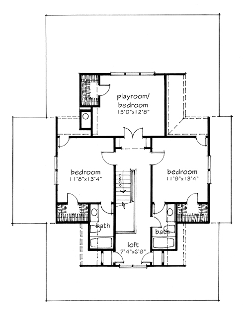 Four gables silent stubborns Four gables house plan
